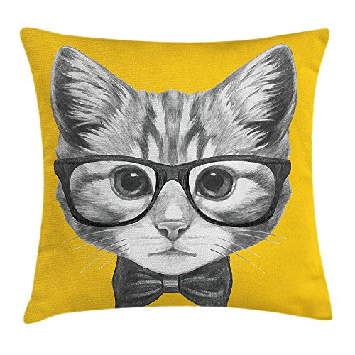 llow case Sketchy Hand Drawn Design Baby Hipster Cat Cute Kitten with Glasses Image Print Throw Pillow Covers 20x20 Inches ()