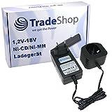 Trade-Shop Universal Akku Ladegerät (1,2V-18V Ni-Cd/Ni-MH) Ladestation Schnellladegerät für Ryobi CJSP-180QEO CJSP-180QEOM CMD-1802 CMD-1802M CMI-1802 CMI-1802M CML-180M CNS-1801M CNS-180L