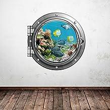 Pared Smart diseños wsd339l Full Color Acuario Peces tropicales mar ojo de buey vinilo adhesivo decorativo para cuarto de baño infantil de pared, multicolor