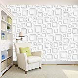 #8: 100yellow 3D white square Wallpaper Pattern (Self Adhesive) Peel and Stick Waterproof HD Wallpaper For Office- 44 SqFt