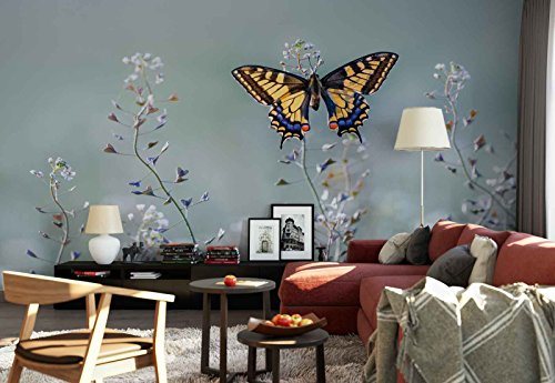 Vlies Fototapete Fotomural - Wandbild - Tapete - Schwalbenschwanz-Schmetterling Blumen Vorbauten - Thema Blumen - MUSTER - 104cm x 70.5cm (BxH) - 1 Teilig - Gedrückt auf 130gsm Vlies - 1X-1129425VEM