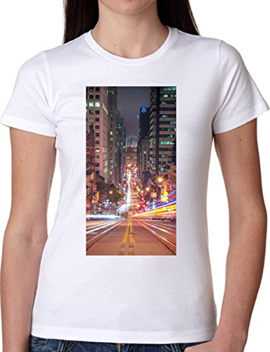 T SHIRT JODE GIRL GGG22 Z2565 LIGHTS CITY ROAD NIGHT URBAN STYLE AMERICA FUNNY FASHION COOL BIANCA - WHITE