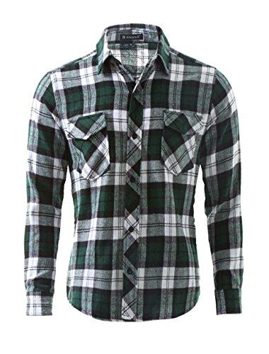 Allegra K Herren langarm modisch Flanell Hemd Karohemd Freizeithemd regular fit,Grün,L (EU 52)/UK 42 (Flanell-hemd Karierte)