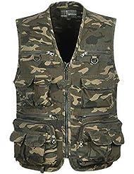 Veste de Camouflage Multi Poches Veste Gilet Homme pour Chasse Pêche Photographie