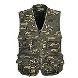 Men's Multi Pocket Camouflage Vest Hunting Fishing Outdoor Travel Work Jacket Quick Dry Waistcoat L-XXXXL - XXXXL