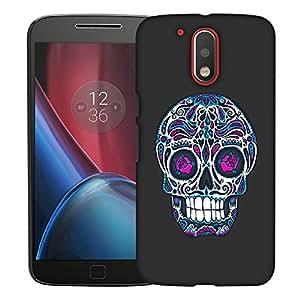 Snoogg Floral Skull Designer Protective Back Case Cover For MOTOROLA G4 PLUS