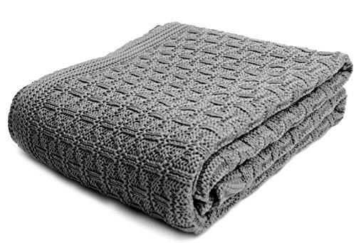 SonnenStrick 3009002 Babydecke / Kuscheldecke / Strickdecke aus 100 % Bio Baumwolle kba Made in Germany, 100 x 90 cm, grau