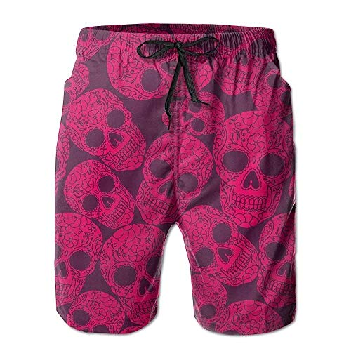 IconSymbol Pink Candy Lacquer Skulls Men's/Boys Casual Shorts Swim Trunks Swimwear Elastic Waist Beach Pants with Pockets (Pink Shorts Boy Camo)