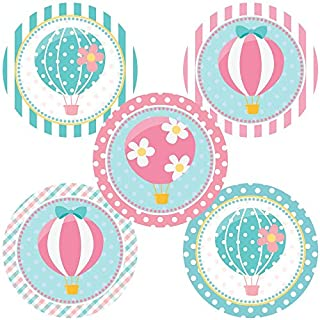 Hot Air Balloon Sticker Labels - Up Fly Away Birthday Baby Shower Party Favor Stickers - Set of 50