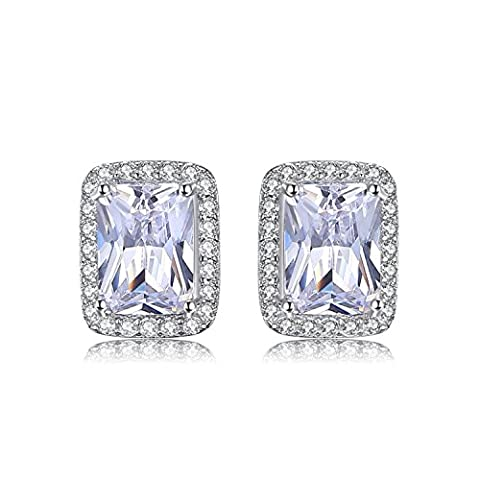 JewelryPalace Classic 2.2ct Rechteck Zirkonia Verlobungs Halo Ohrstecker 925 Sterling