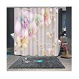 MaxAst Blume Duschvorhang Anti Schimmel, Bunten Badewanne Vorhang 180x200CM, Antibakteriell Wasserdicht mit Kunststoff Ringe Kein Rost