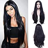 66cm Glueless Lace Front Wigs Long Big Wavy Heat Resistant synthetic Hair Natural Black Full Head Wigs for Daily party Cosplay