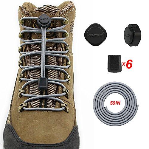 2 Paare HOMAR Sport Schnürsenkel für Kinder und Erwachsene - Reflektierend Schuhband Runde Nestel für Sneaker Rennschuh Stiefel Grau