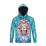 XYL HOME Hoodie,Männer und Frauen realistisch 3D-Druck Farbe Löwe Pullover Kapuzen Sweatshirt Hoodie große Tasche, 2XL