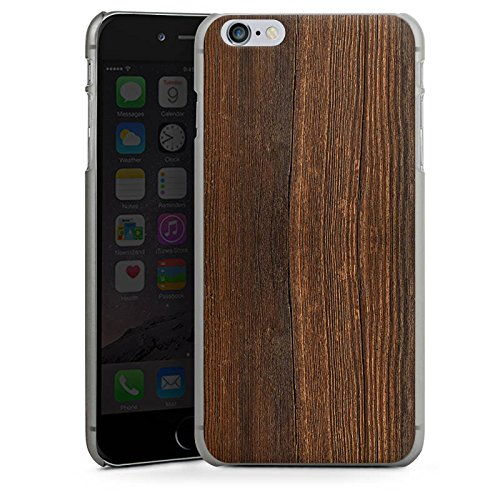 Apple iPhone X Silikon Hülle Case Schutzhülle Nußbaum Holz Look Hard Case anthrazit-klar