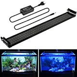 Aquarium LED Beleuchtung, Aquariumbeleuchtung Lampe Weiß Blau Licht 18W mit Verstellbarer Halterung für 70cm-90cm Aquarium