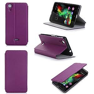 Etui Wiko Rainbow Lite Selfie 4g violet luxe Ultra Slim Cuir Style avec stand - Housse Folio Flip Cover coque de protection smartphone Wiko Rainbow Lite violette - Accessoires pochette XEPTIO : Exceptional case !