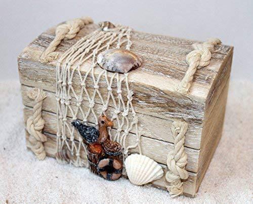 Holz Box 14 x 9 x 10 cm Treibholz Serie mit Möwe -