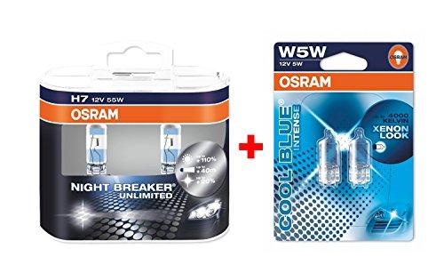 Preisvergleich Produktbild Osram Nightbreaker Plus H7 Duo-Pack der 2. Generation 64210NBP-HCB + 2 Stück Osram 5W5 2825HCBI-02B Halogen Cool Blue Intense Standlichtern