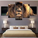 Meaosy Modern Brand New Pictures Home Decor Canvas Posters 5 Pieces Animal Paintings Living Room Hd Abstract Prints Wall Art Framework-20X35/45/55Cm