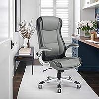 NavyBlue High-Back Executive Office Chair Ergonomic Computer Chair Faux Leathe (Grey)