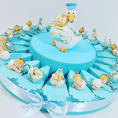 Sindy bomboniere portachiavi cicogna culla con bimbo su torta per confetti con 20 scatoline e salvadanaio + 20 blister di confetti celesti cioccolato apr