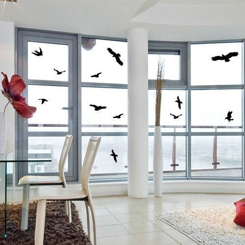 Fenster-schwarz-glas-tür (FMJI Fenster Alert Vogel Aufkleber Silhouetten Glas Tür Schutz Sparen Birds, Schwarz)