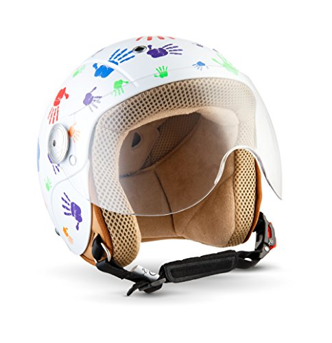 SOXON SK-55 Kids Color Hands · Jet-Helm Motorrad-Helm Scooter-Helm Roller-Helm Kinder-Jet-Helm Vintage Kinder-Helm Chopper Biker Mofa Pilot Kids Retro Cruiser Vespa-Helm Helmet Bobber · ECE zertifiziert · mit Visier · inkl. Stofftragetasche · Weiß · S (53-54cm)
