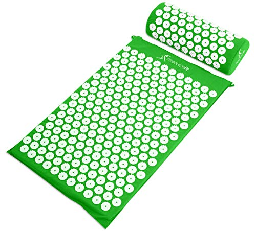 ProSource Fit Akupressurmatte und Kissen Set für Rücken-/Nacken-Schmerzlinderung und Muskelentspannung, ps-1203-accuset-green Acupressure Mat and Pillow Set Green, grün