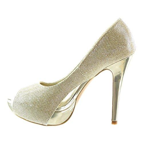 Angkorly - Chaussure Mode Escarpin peep-toe stiletto soirée femme brillant Talon haut aiguille 12.5 CM Or