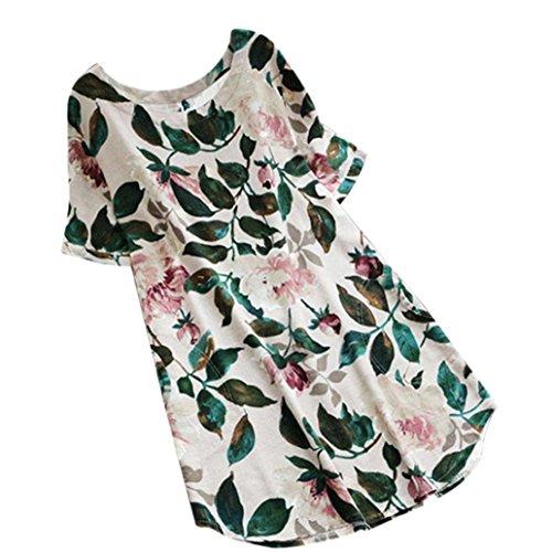 Heiß! Damen Kleid Yesmile Frauen Frühling Sommer Lose Halbe Hülse Minikleid Blumendruck Bowknot Ärmeln Cocktail Minikleid Casual Party Kleid (4XL, Weiß-E)