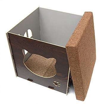 Eyepower Dôme pour Chat 38x38x38cm Petite Maison S INCL griffoir boîte carrée avec Couvercle rembourré pour s'asseoir Repose-Pied Marron