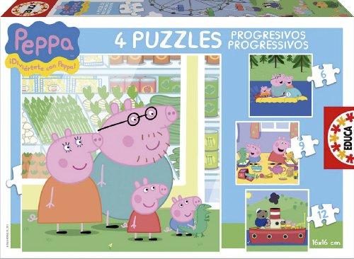 Educa Borrás Peppa Pig - Puzzles progresivos, 6 - 9 - 12 - 16 piezas 15918