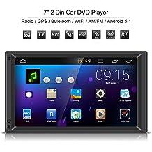 Qiilu Universal 7 pulgadas 2 Din Reproductor Multimedia MP5 Bluetooth Radio Estéreo Navegación GPS y BT WIFI AM / FM HD Pantalla táctil Android 5.1 para Coche
