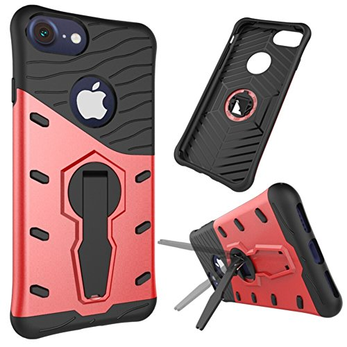 EKINHUI Case Cover Für Apple IPhone 7 und 8 Shell Case 2 In 1Tough Hybrid Heavy Duty Schock Proof Defender Cover Dual Layer Armor Combo Mit 360 ° Swivel Stand Schutzhülle Fall ( Color : Red ) Red