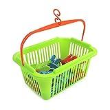 com-four® 30 Wäscheklammern im Korb mit Henkel zum Aufhängen, 25 x 19 x 11, 5 cm (31-teiliges Set 2 - Korb+Klammern)