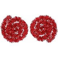 2 Piezas de Guirnalda de Oropel Metálico Oropeles Brillantes Decoración de Árbol de Navidad Guirnalda Brillante, 4 Metros Total (Rojo)