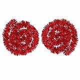 BBTO 2 Stück Metallische Lametta Girlanden Glitzernde Lametta Draht Girlande Weihnachtsbaum Dekoration Girlande Glänzende klobige Girlanden, 4 Meter Gesamt (Rot)
