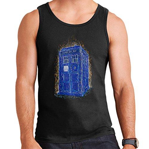 Woodcutardis Van Gogh Style Tardis Doctor Who Men's Vest Black