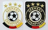 2er-Set, Fussball Stick Abzeichen 86 x 65 mm / Deutschland Germany Champions / Gold Stickerei, Aufbügler, Applikation, Aufnäher, Patch, Bügelbild für Kleidung, Cap, Taschen / Fußball National Mannschaft Team Meister Fan