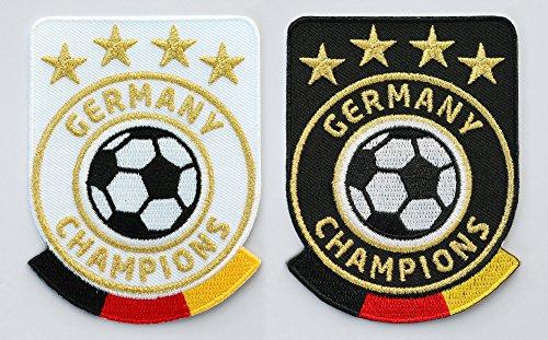 2er Set Germany Fussball Abzeichen 86 x 65 mm / Deutschland Champions / Gold Stickerei Aufbügler Patch Patches Bügelbild für Trikot Dress Sport Kleidung / National Mannschaft Team Welt-Meister