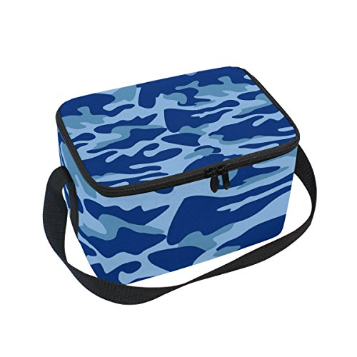 Isolierte Lunch-box Camo (doshine Abstrakt Camouflage Blau Isolierte Lunch Box Tasche, Kühler Ice Lunch Tasche Wiederverwendbar für Männer Frauen Erwachsene Kinder Jungen Mädchen)