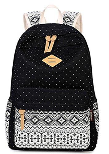 Mädchen Damen Canvas Schulrucksack Rucksack Teenager Schultasche Daypacks für Reise outdoor Universität Punkt Schwarz Schwarz