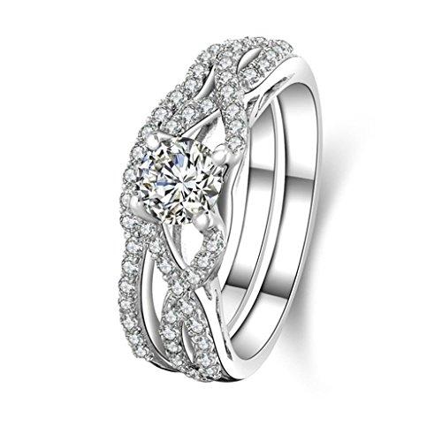 """Anyeda Memory Ring Silber 925 Damen Hollow 8\"""" Cz Eingelegt Silber Ringe 52 (16.6)"""