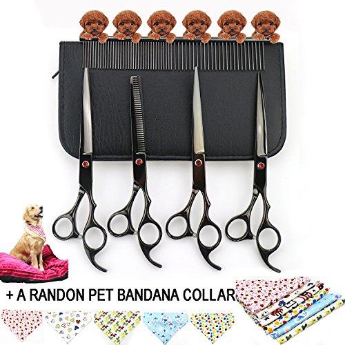 Fuse-link-kit (Haustier Hund Pflege Schere Trimmer Kits fucuen Professional Schneiden & gebogen & Effilierschere mit Tasche und Kamm Set für Hund Katze Kaninchen Haar Friseur Schwarz)