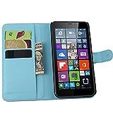 Tasche für Nokia Microsoft Lumia 640 XL Dual-SIM Hülle, Ycloud PU Ledertasche Flip Cover Wallet Case Handyhülle mit Stand Function Credit Card Slots Bookstyle Purse Design blau