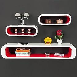 Juego de 3 estanterías de pared en forma de cubo de Retro apilables - de madera de densidad media de llevar colores blanco-Red