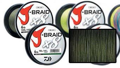 Daiwa J-Braid 8 Braid 0.24mm, 18.0kg / 40.0lbs, 300m dunkelgrün, rund geflochtene Angelschnur