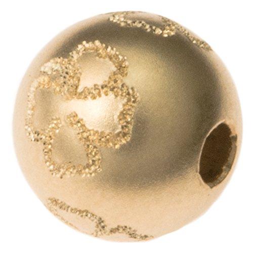 14k gold filled 8mm round 4foglia quadrifoglio sabbiatura stardust perlina distanziale a sfera