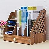 QFFL zhuomianshujia Desktop-Aufbewahrungsbox Multifunktions-Regal Holzablageablage Aufbewahrungsbox (3 Farben, 2 Ausführungen) Bücherregale (Farbe : Kirschholz, größe : 33×23×32cm)